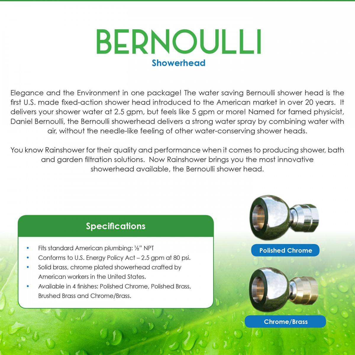 Rainshower Bernoulli Pc Water Saving Power Shower Head