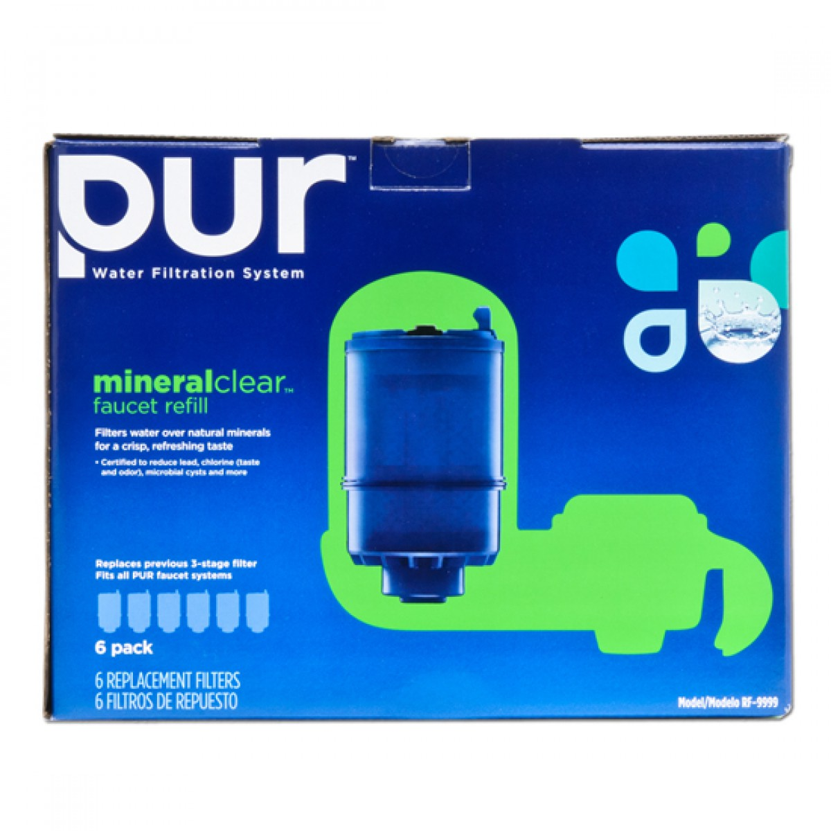 PUR RF-9999-6 3-Stage Mineral Clear Faucet Filter Replacement 6-Pack