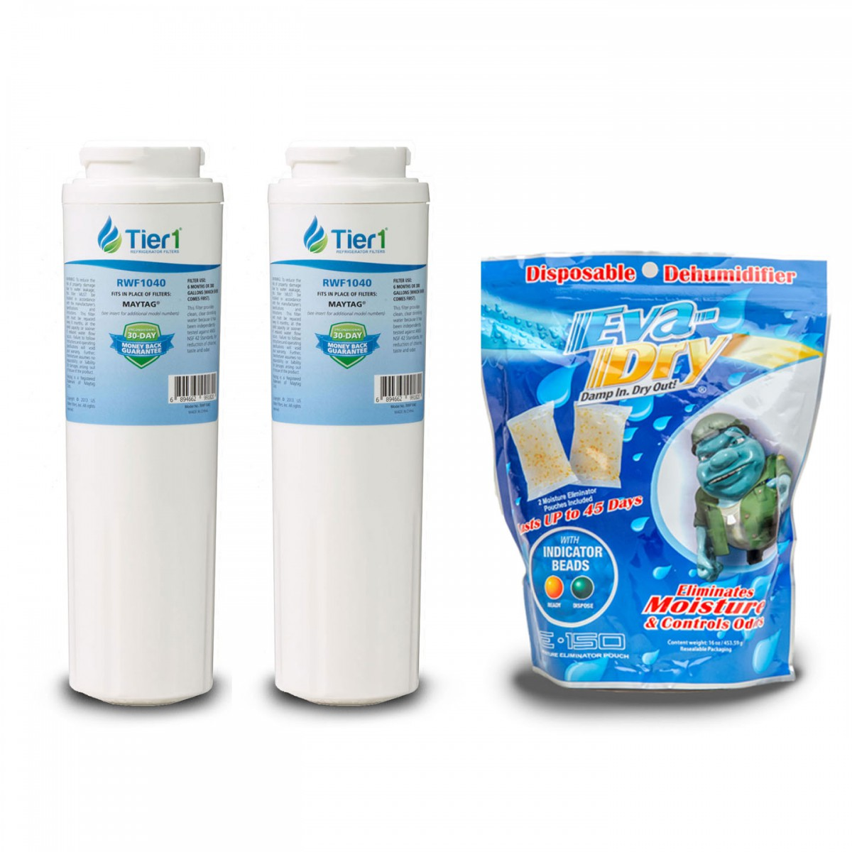 EDR4RXD1 EveryDrop UKF8001 Maytag Comparable Water Filter 2-Pack Plus E-150  Eva-Dry Silica Gel 2-Pack by Tier1