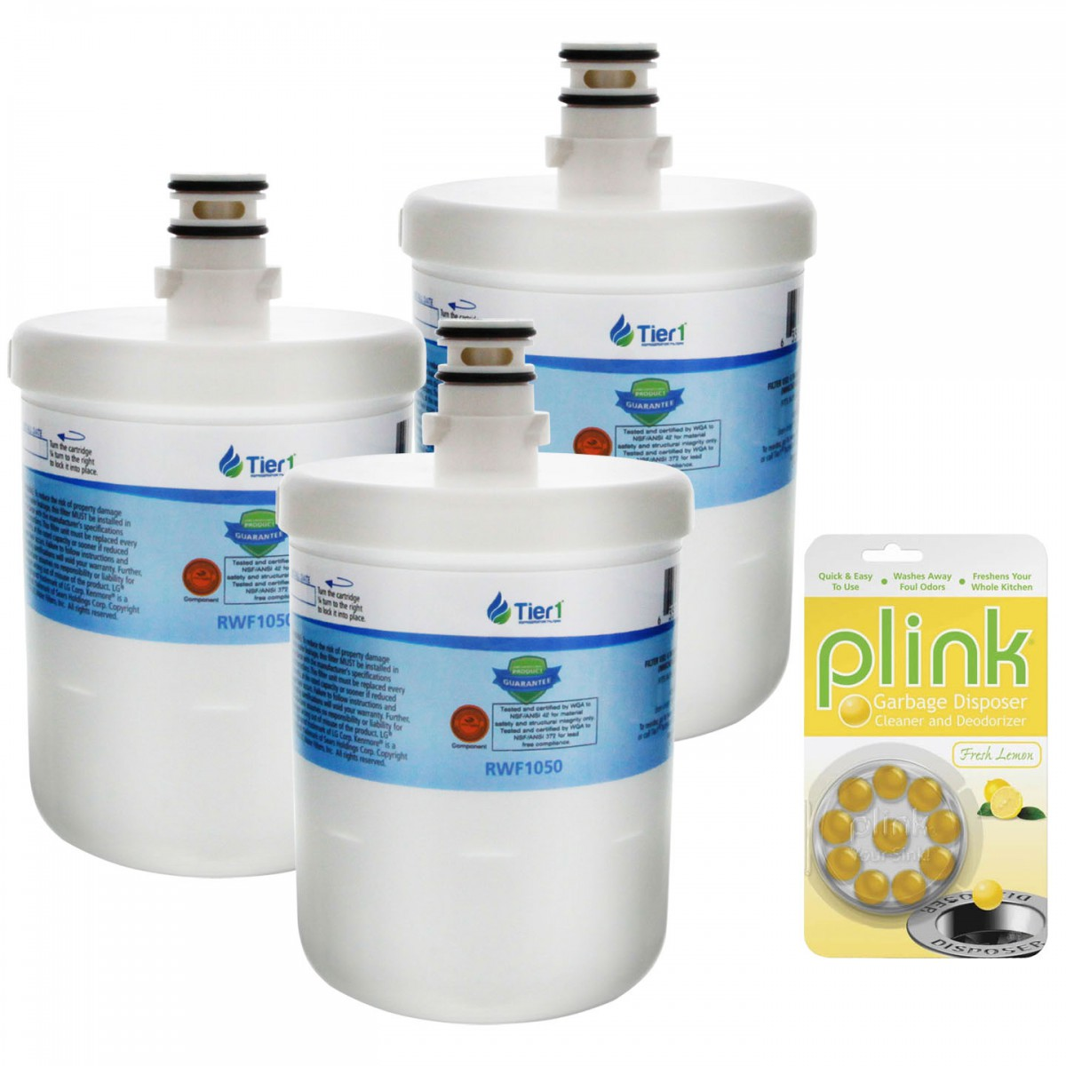 5231JA2002A / LT500P LG Comparable Refrigerator Water Filter Replacement  and Plink Garbage Disposal Cleaner (3 Pack) by Tier1