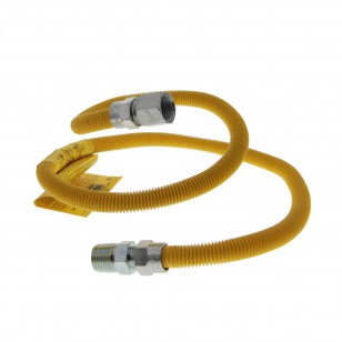 4-feet Yellow Coated SS 1/2-inch Gas Dryer Connector by Tier1
