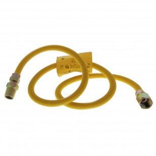 Yellow Coated 4-foot SS 3/8-inch Gas Dryer Connector Tier1