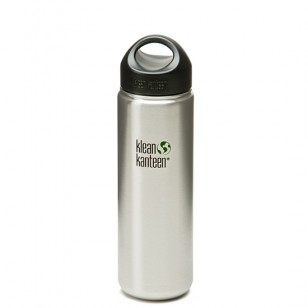 K27WSSL Klean Kanteen 27-Ounce Stainless Steel Wide Mouth Bottle with Loop-cap