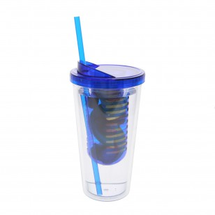 20 Ounce Clear Water Bottle with Blue Infuser by Tier1