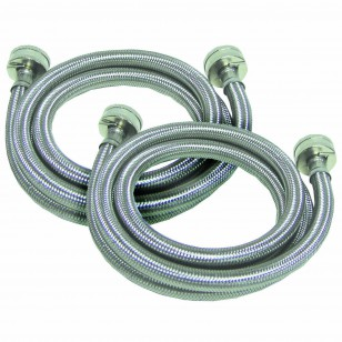 Braided Stainless Steel 4-foot 3/4-inch FGH / FHT Washer Machine Hoses by Tier1 (2-Pack)