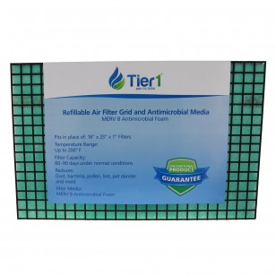 16x25x01 Antimicrobial Merv 8 Refillable Grid Air Filter by Tier1
