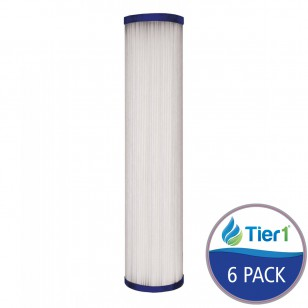 10 inch x 2.5 inch Pleated Sediment Water Filter by Tier1 (1 Micron) (6 Pack)