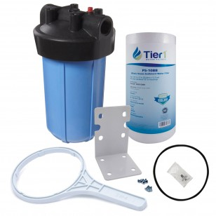 10 inch Big Polypropylene Filter Housing with Pressure Release and Sediment Filter Kit by Tier1 (1 inch Inlet/Outlet)