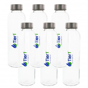 Tier1 Reusable Glass Water Bottle (6-Pack)