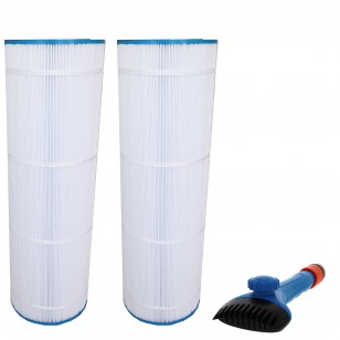 CX1750-RE, 25230-0175S & 817-0175P Comparable Pool and Spa Filter (2-Pack) and Pool Filter Cleaning Brush by Tier1