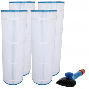 CX1750-RE, 25230-0175S & 817-0175P Comparable Pool and Spa Filter (4-Pack) and Pool Filter Cleaning Brush by Tier1