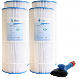 R173215 & 59054200 Comparable Pool and Spa Filter (4-Pack) and Pool Filter Cleaning Brush by Tier1