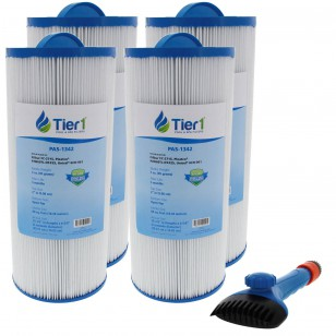 6541-383 Comparable Pool and Spa Filter (4-Pack) and Pool Filter Cleaning Brush by Tier1