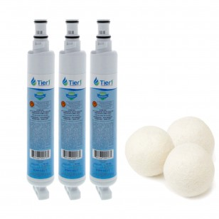 EDR6D1 EveryDrop 4396701 Whirlpool Comparable Refrigerator Water Filter and Fabric Softening Wool Dryer Ball (3 Pack) by Tier1