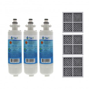 LT700P LG Comparable Refrigerator Water Filter (3 Filters) and LG LT120F Fresh Air Replacement Filter by Tier1 (3 Filters)