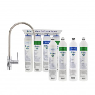 4-Stage Ultra-Filtration Hollow Fiber Drinking Water Filter System PLUS Filter Change Set by Tier1 (Quick Change)