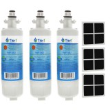 LT700P LG Comparable Refrigerator Water Filter (3 Filters) and LG LT120F Comparable Fresh Air Filter (3 Filters) by Tier1