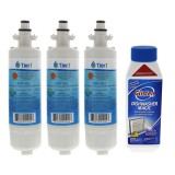 LT700P LG Comparable Refrigerator Water Filter Replacement and Glisten Dishwasher Magic Dishwasher Cleaner Bundle by Tier1(3-Pack)