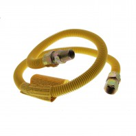 Yellow Coated 4 Foot SS 5/8-Inch Gas Range Connector by Tier1
