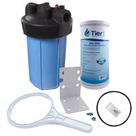 10 inch Big Polypropylene Filter Housing with Pressure Release and Carbon Filter Kit by Tier1 (1 inch Inlet/Outlet)