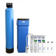 48,000 Grain Capacity Water Softener + 4-Stage Ultra-Filtration Hollow Fiber Drinking Water Filter System and 4 Glass Water Bottles by Tier1