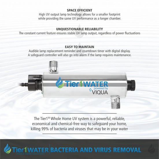 Series 8000 Whole Home Carbon and KDF + UV Water Purification and Salt Free Water Softening System by Tier1 (UV System)