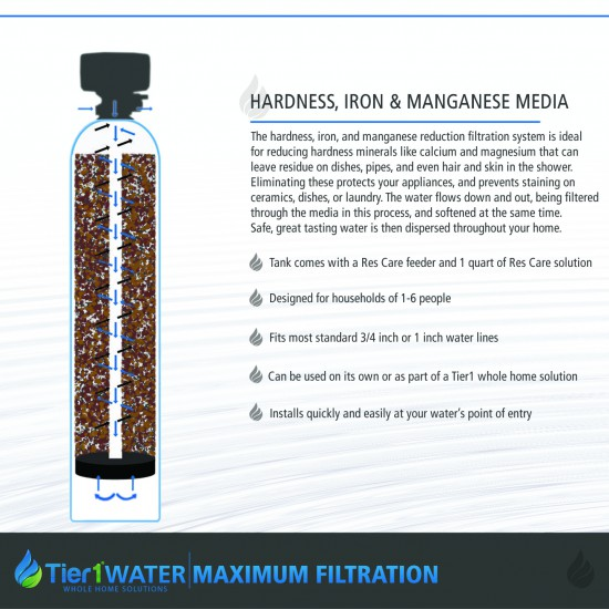 Series 10000 Hardness, Iron and Manganese Filter and 45,000 Grain Capacity Water Softening System by Tier1 (Maximum Filtration)
