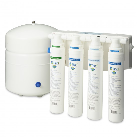RO-QC-450 4-Stage Quick Change Reverse Osmosis Water Filter System by Tier1 (50 GPD) (tank and filters)