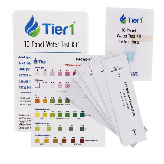 48,000 Grain Capacity Water Softener + 5-Stage Reverse Osmosis Drinking Water Filter System and 4 Glass Water Bottles by Tier1 (10 Panel Water Test Kit)