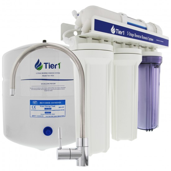 48,000 Grain Capacity Water Softener + 5-Stage Reverse Osmosis Drinking Water Filter System and 4 Glass Water Bottles by Tier1 (RO Drinking Water Filter System)