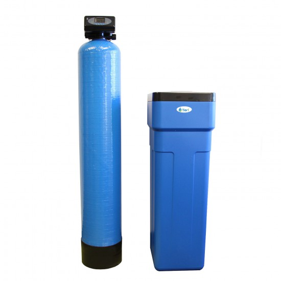 48,000 Grain Capacity Water Softener + 5-Stage Reverse Osmosis Drinking Water Filter System and 4 Glass Water Bottles by Tier1 (Water Softener)