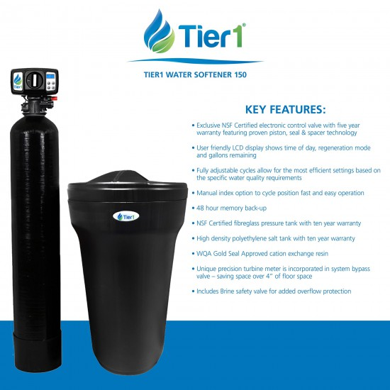 48,000 Grain Capacity Series 165 Black Water Softener by Tier1 (key features)