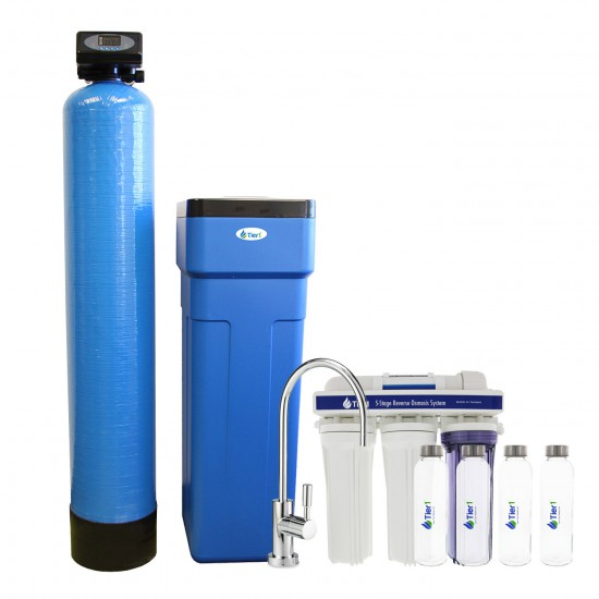 48,000 Grain Capacity Water Softener + 5-Stage Reverse Osmosis Drinking Water Filter System and 4 Glass Water Bottles by Tier1
