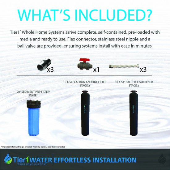 Series 10000 Whole Home Carbon and KDF Water Purification and Salt Free Water Softening System by Tier1 (Whats Included)