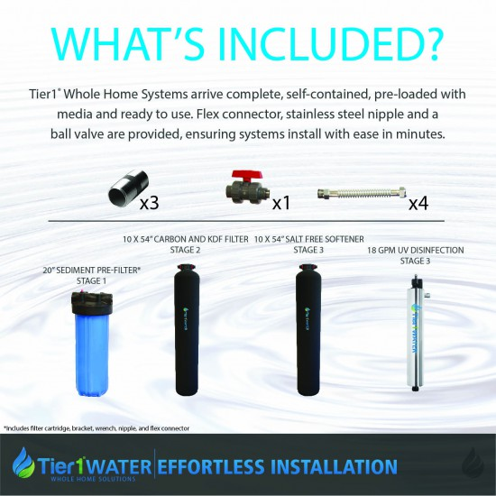 Series 10000 Whole Home Carbon and KDF + UV Water Purification and Salt Free Water Softening System by Tier1 (Whats Included)